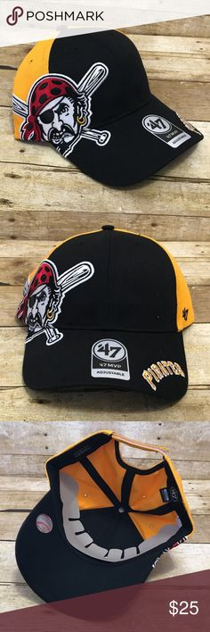 Pittsburgh Pirates 47 MVP Adjustable Baseball Hat Pittsburgh Pirates 47 MVP Adjustable Baseball Hat Black Yellow MLB  Condition:  This item is brand new! Free from rips & stains.  All items come from a smoke/ pet free environment. 47 Accessories Hats