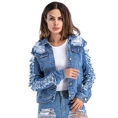 VICVIK Womens Blue Distressed Button Long Sleeve Denim Jean Jacket Coat With Pockets Regular and Plus Size Product description: Product advantage: A cute and essential casual ripped Distressed denim jacket for every girl and women. There is a slight stretch to the vest so you it will not feel so...  More details at https://jackets-lovers.bestselleroutlets.com/ladies-coats-jackets-vests/denim-jackets/product-review-for-vicvik-womens-blue-distressed-button-long-sleeve-denim-j