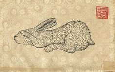 Hare illustration, digital print (of a original ink drawing on an old book page). Print paper size A4 / 8 x 11 in. Signed and dated, shipped in a protective plastic sleeve with cardboard backing.