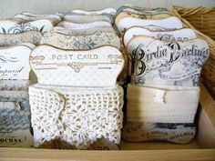 *Queen Bee Cottage*DIY CARDS neat way to store lace our Robbin scraps