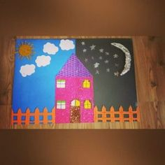 Für Kinder: Day and night bulletin board idea for kids Hand Crafts For Kids, Sun Crafts, Art For Kids, Diy And Crafts, Moon Activities, Indoor Activities For Kids, Preschool Activities, Opposites Preschool, Preschool Worksheets