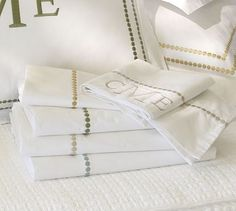 Pearl Embroidered 280-Thread-Count Sheet Set #potterybarn I love the look of these as well!