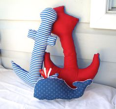 nautical decor set of 3 whale anchor plush toy by BlackTulipQuilts, $59.00