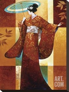 Misaki Stretched Canvas Print by Keith Mallett at Art.com