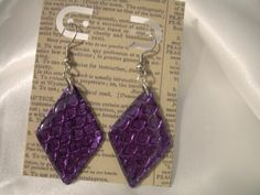 Faux Dichroic Purple Snakeskin Imprint Diamond-Shaped Earrings by ATouchOfNightshade on Etsy