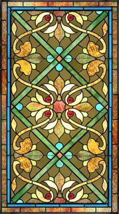 Antique American Victorian Stained Glass Window, circa 1885