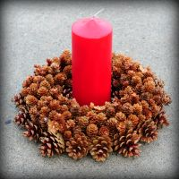"12"" Pine Cone Wreath Centerpiece - Light Brown - With Candle - by Jen's Wreaths"