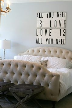 LOVE the quote from the Beatles and the bed looks comfy!