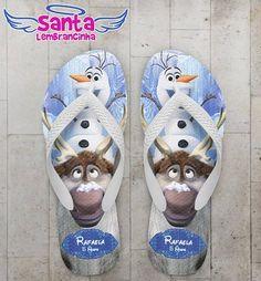 Chinelo Festa Infantil Frozen, Olaf Personalizado