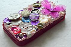 Decoden purple and pink Button Phone Case with Mod Podge Collage Clay- see the full how to using Mod Podge Collage Clay, Mod Melts and Molds #decoden and mixed media crafts #plaidcrafts #DIY #modpodge