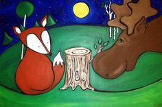 Fox & Moose - original print from Patrick Guindon! Large Painting, Moose, Larger, New Baby Products, Design Art, Original Art, Fox, Snoopy, Nursery