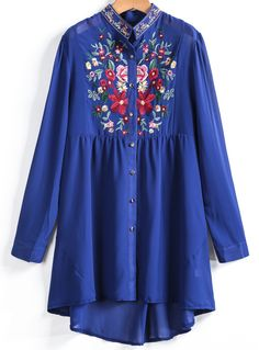 Blue Long Sleeve Embroidered Dipped Hem Blouse 24.17