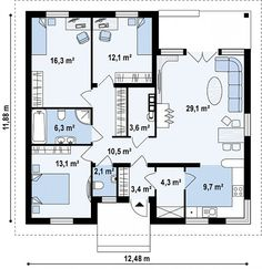 Проект практичного одноэтажного дома с многоскатной кровлей и угловым окном в кухне. 110 кв.м.