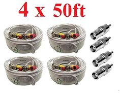 4 Pack 50FT All-in-One RG59 4K BNC Video/&Power Cable For CCTV Security Cameras