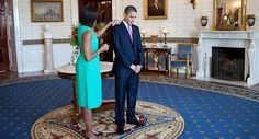 President Barack Obama and First Lady Michelle Obama wait in the Blue Room of the White House before greeting recipients of the 2010 National Medal of Arts and National Humanities Medal, March (Official White House Photo by Pete Souza)