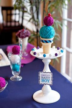 How cute are these yarn ice-cream cones. These are for a baby shower but your could do for any fun occasion. love em