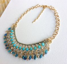 Blue Bib Necklace Bubble Neckalce Statement Necklace with Crystal Accented Beaded, Beadwork on Etsy, $24.00