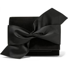 Victoria Beckham Bow-embellished suede clutch ($1,440) ❤ liked on Polyvore featuring bags, handbags, clutches, black, evening clutches, black handbags, suede purse, black clutches and oversized clutches