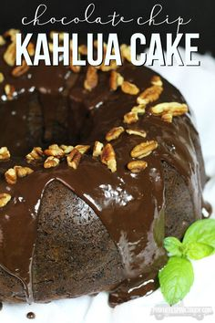 This Chocolate Chip Kahlua Cake is super easy to make and AMAZINGLY delicious! Topped with a Coffee Kahlua Chocolate Ganache. SO YUM!