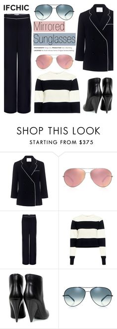 """What to wear: Mirrored Sunglasses"" by ifchic ❤ liked on Polyvore featuring TIBI, Oliver Peoples, IRO and contemporary"