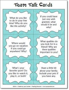 Team Talk Question Cards freebie on Laura Candler's Caring Classrooms page - Great back to school activity or an icebreaker any time you are forming new teams!
