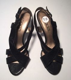 Moda Spana Black Snakeskin Slingback Strappy Open Toe Leather Pump Women's 7.5 M #ModaSpana #Slingbacks