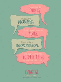 Fangirl by Rainbow Rowell. I used to be the person who rather watch the movie rather than reading the book first. Fangirl Book, Book Fandoms, Book Nerd, I Love Books, Good Books, My Books, Book Of Life, The Book, We All Mad Here