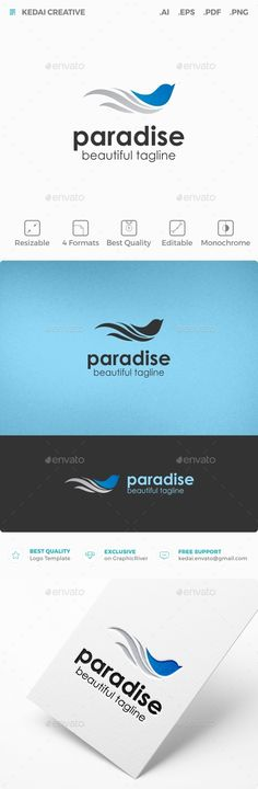 Paradise Logo EPS Template  #bird • Only available here ➝ https://graphicriver.net/item/paradise/10818177?ref=pxcr