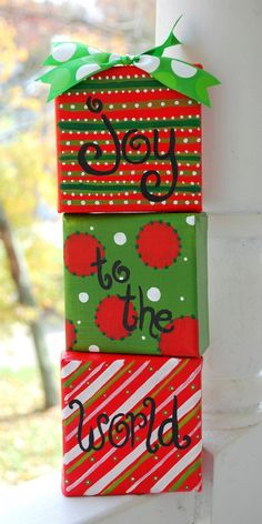 Joy to the World set of 3 4x4 canvases, Custom Painting, Scripture, Christmas, Holiday Decor