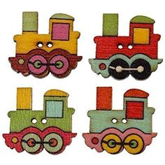 The Bead and Button Box - 20 Wooden Train Design Sewing Buttons, 25 x 22mm. Ideal for children's clothes and baby wear. Scrapbook and Crafts