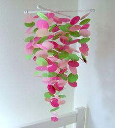 Pink and Green Handmade Baby Mobile - Medium Probably too big for us but I like the idea and the colours!