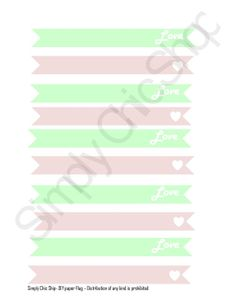 PRINTABLE Shabby Chic MINT green and Light Pink Paper Straw Flags // Cupcake Toppers by TheSimplyChicShop
