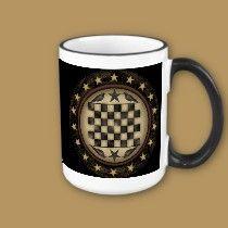 Primitive Crow Checkerboard Coffee Mug mugs by DoodleFairy