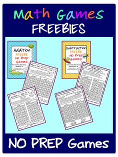 FREEBIES -  NO PREP Math Games for addition and subtraction - just print and play!