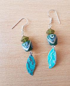 Glass bead earring lamp work earrings wood bead by SweetgemsDesign