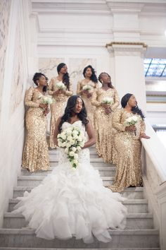 Real {Maryland} Wedding: Niquetta & Obarine by Lola Snaps Photography (Chic Brown Bride) Mermaid Bridesmaid Dresses, Gold Bridesmaids, African Bridesmaid Dresses, Wedding Attire, Wedding Gowns, Bridal Gown, Bridal Party Poses, African American Weddings, Black Bride