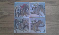 Tile Coasters Race Horses by horsecharms on Etsy, $15.00