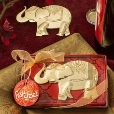 GOOD FORTUNE ELEPHANT DESIGN GOLD METAL BOTTLE OPENER
