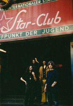 Black Sabbath in front of Star Club, Hamburg, Germany 1969 Bill Ward, Ozzy Osbourne, Birmingham, Heavy Metal, Tony Iommi, Geezer Butler, James Dio, Jason Newsted, Solo Photo