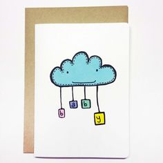 Baby Cloud Card by PastelyRabbit on Etsy