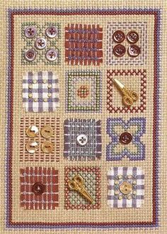 Inspired by a subtle selection of colours and fabrics often associated with New England folk designs, this delightful design is embellished with tiny buttons and beads   by Jane Iles
