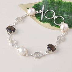 HOT SELL SMOKEY WITH PEARL 925 SOLID STERLING SILVER BRACELET 13.78g BR0045 #Handmade #BRACELET