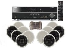 """Yamaha 3D-Ready 5.1-Channel 500 Watts Digital Home Theater Audio/Video Receiver with 1080p-compatible HDMI repeater & Upgraded CINEMA DSP With a USB Digital Input and Connecting Cable to Play & Charge Your iPod or iPhone & Control Remotely+ Yamaha Custom Easy-to-install Natural Sound In-Ceiling 3-Way 100 watt Speakers (Set of 6) with Dual Tweeters & 6-1/2"""" Woofer + 100ft 16 AWG Speaker Wire Yamaha,http://www.amazon.com/dp/B0043RKWKO/ref=cm_sw_r_pi_dp_DlMitb03EG39CE9Q"""