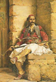 Paul Joanovitch Titre: The Greek sentinel Média: Oil on Panel Plage de taille Hauteur 14,2 in.; Largeur 9,3 in. / Hauteur 36 cm.; Largeur 23,5 cm