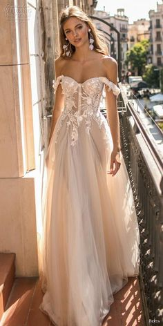 Pink Lace off the Shoulder Wedding Gown