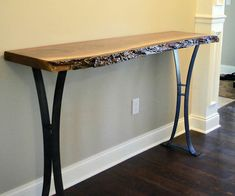 Buy a premium quality live edge walnut entry or hallway table with steel legs for your home from a leading custom furniture designer. Rustic Accent Table, Rustic Table, A Table, Accent Tables, Rustic Console Tables, Deck Table, Live Edge Console Table, Live Edge Table, Wood Slab Table