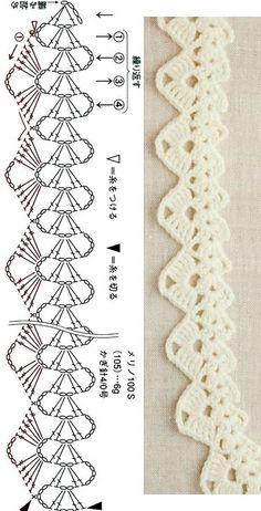 Crochet Edging Patterns, Crochet Lace Edging, Crochet Motifs, Crochet Diagram, Crochet Trim, Crochet Designs, Crochet Doilies, Crochet Flowers, Crochet Stitches