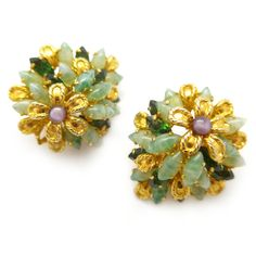 Vintage 1968 Christian Dior Couture Gold Tone Floral Clip Earrings | Clarice Jewellery | Vintage Costume Jewellery