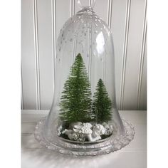 Winter scene in cloche bell jar ($46) ❤ liked on Polyvore featuring home and home decor