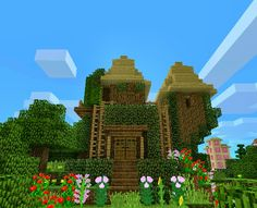 minecraft fairy house made on PE.<<<Cute little cottage that you could probably build in survival  able to be build on all forms of MC